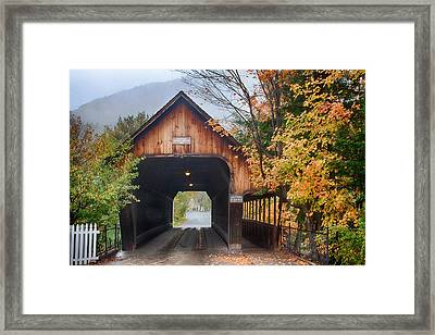 Vermont Fall Colors Over The Middle Bridge Framed Print