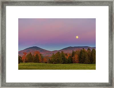 Vermont Fall, Full Moon And Belt Of Venus Framed Print by Tim Kirchoff