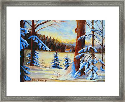 Vermont Log Cabin Maple Syrup Time Framed Print by Carole Spandau