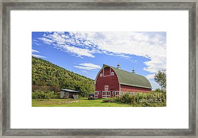 Vermont Red Barn Route 5 Framed Print by Edward Fielding