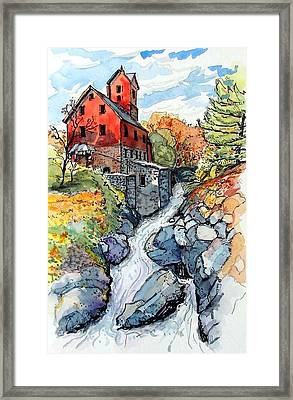 Framed Print featuring the painting Vermont Red by Terry Banderas