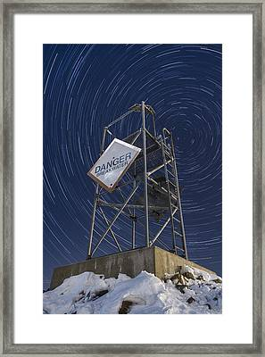 Vermont-star Trails-tower-night-winter Framed Print by Andy Gimino