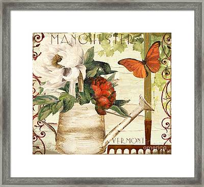 Vermont Summer Watering Can Framed Print by Mindy Sommers
