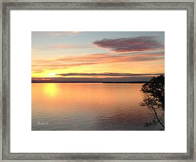 Framed Print featuring the photograph Vermont Sunset, Lake Champlain by Felipe Adan Lerma