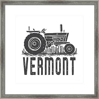 Framed Print featuring the digital art Vermont Vintage Tractor Tee by Edward Fielding