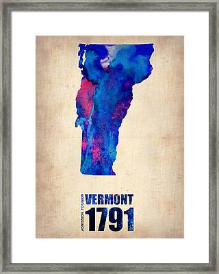 Vermont Watercolor Map Framed Print by Naxart Studio