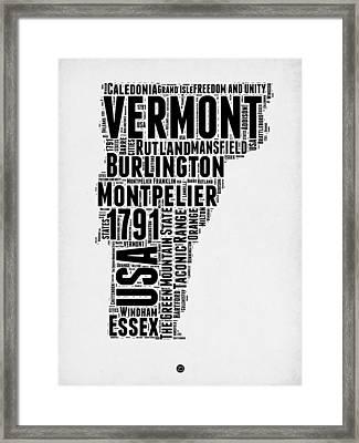 Vermont Word Cloud 2 Framed Print by Naxart Studio