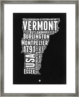 Vermont Word Cloud Black And White Map Framed Print