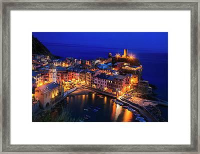 Vernazza At Twilight Framed Print