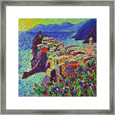 Vernazza Cinque Terre Italy 2 Modern Impressionist Palette Knife Oil Painting By Ana Maria Edulescu  Framed Print
