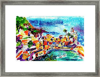 Vernazza Cinque Terre Italy Framed Print by Ginette Callaway
