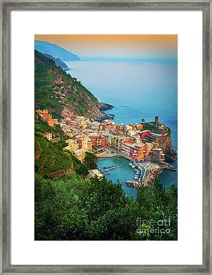 Vernazza From Above Framed Print by Inge Johnsson