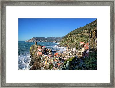 Framed Print featuring the photograph Vernazza In Cinque Terre by Cheryl Strahl
