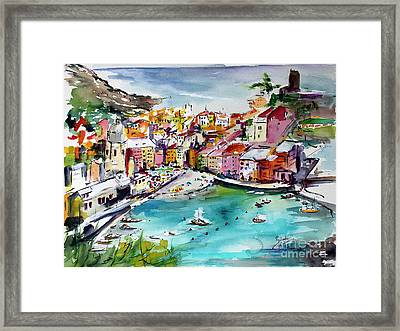 Framed Print featuring the painting Vernazza Italy Cinque Terre Watercolors by Ginette Callaway