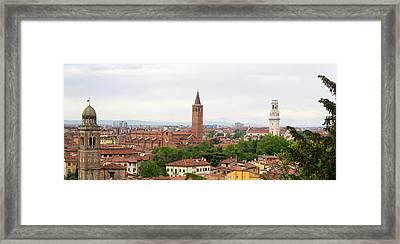Verona Panorama With Saint Anastasia Tower And Verona Cathedral Tower Framed Print by Vlad Baciu