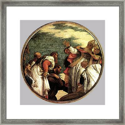 Veronese The People Of Myra Welcoming St Nicholas Framed Print by Paolo Veronese