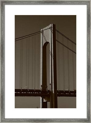 Verrazano Black And White Framed Print by Christopher Kirby