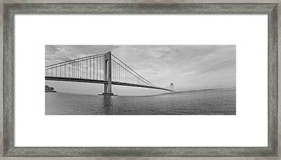 Verrazano Bridge - Small - 6 Ft Long - Panorama Framed Print by Alex AG