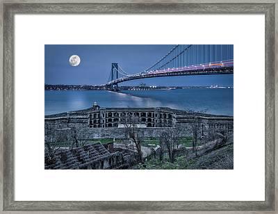 Framed Print featuring the photograph Verrazano Narrows Bridge Full Moon by Susan Candelario