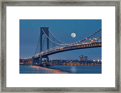 Framed Print featuring the photograph Verrazano Narrows Bridge Moon by Susan Candelario