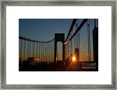 Verrazano Narrows Bridge, Sunset Framed Print