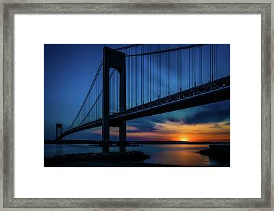 Framed Print featuring the photograph Verrazano Sunset by Chris Lord