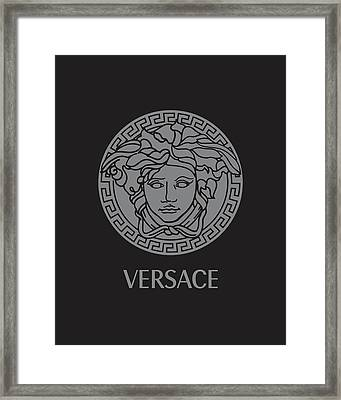 Versace - Black And Grey Framed Print