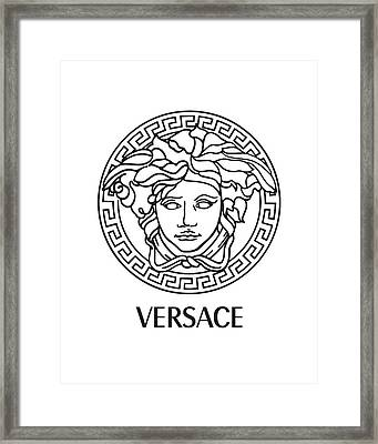 Versace - Black And White Framed Print