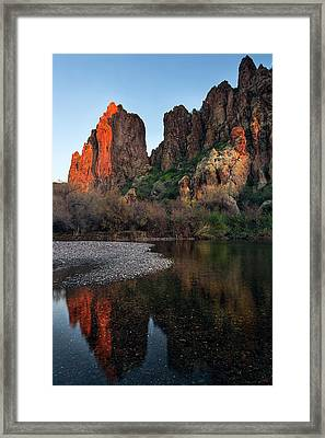 Framed Print featuring the photograph Vertical Cliffs Reflected In The Salt River At Sunset by Dave Dilli