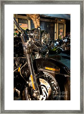 Vertical Front View Of Fat Cruiser Motorcycle With Chrome Fork A Framed Print