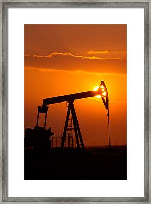 Vertical Oil Rig Sunset Framed Print
