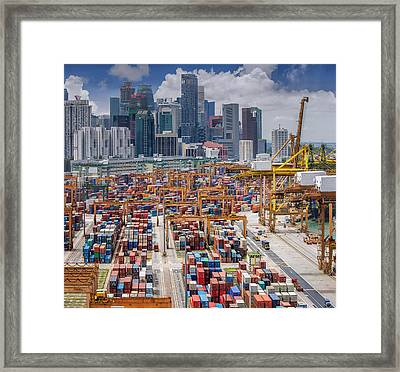 Vertical Panoramic Top View On Singapore Harbor Framed Print by Anek Suwannaphoom