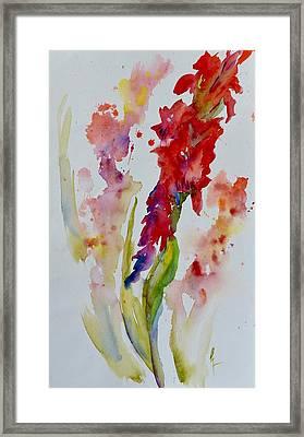 Vertical Red Bloom Framed Print by Beverley Harper Tinsley