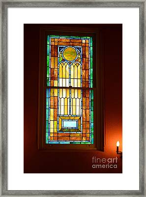 Vertical Stained Glass At The Sixth And I Temple Washington Framed Print by Poet's Eye
