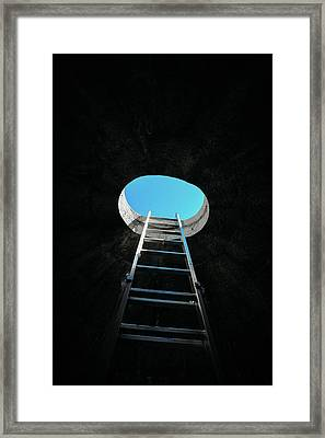 Vertical Step-ladder On Ceiling Window  Framed Print