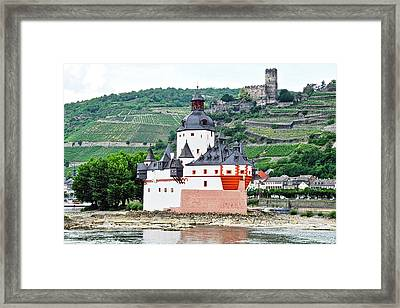 Vertical Vineyards And Buildings On The Rhine Framed Print