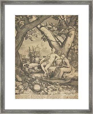 Vertumnus And Pomona, 1605  Framed Print by Pieter Jansz Saenredam