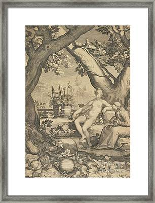 Vertumnus And Pomona Framed Print by Pieter Jansz Saenredam