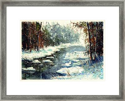 Very Cold Winter Watercolor Framed Print