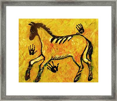 Very Primitive Wild Horse Painting Framed Print