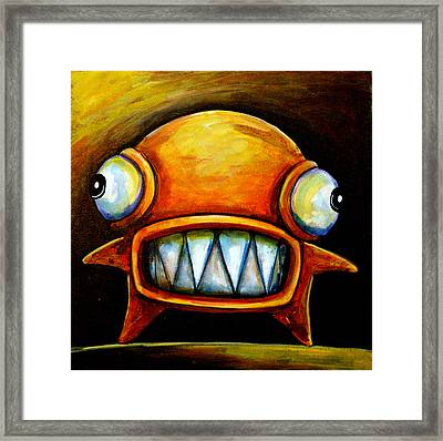 Very Scarey Glob Framed Print by Leanne Wilkes