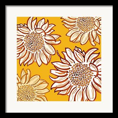 Digital Sunflower Framed Prints