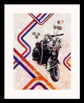 Motor Scooters Framed Prints