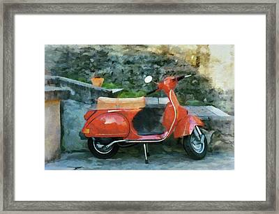 Framed Print featuring the painting Vespa Parked by Jeff Kolker