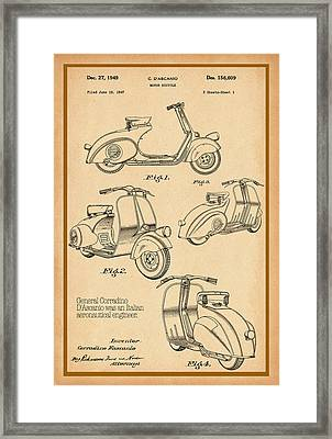 Vespa Patent Drawing Framed Print