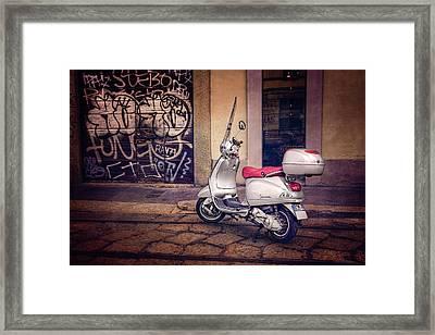 Vespa Scooter In Milan Italy  Framed Print