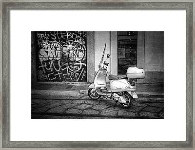 Vespa Scooter In Milan Italy In Black And White  Framed Print by Carol Japp