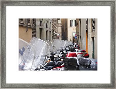Vespas In Florence Framed Print by Andre Goncalves