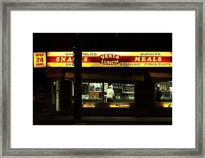 Vesta Lunch All Night Framed Print by Kreddible Trout