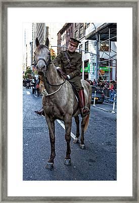 Veterans Day Nyc 11_11_16 Ww 1 Re-enactor Framed Print by Robert Ullmann